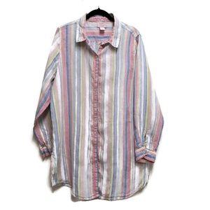 St. Tropez 100% linen tunic length button up sz XL